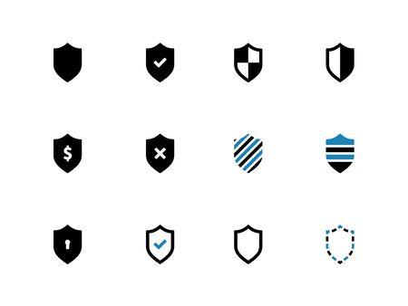 obscure: Iconos Shield bitono sobre fondo blanco. Ilustraci�n del vector. Vectores