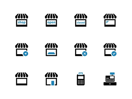 Shop duotone icons on white background. Vector illustration. Vector