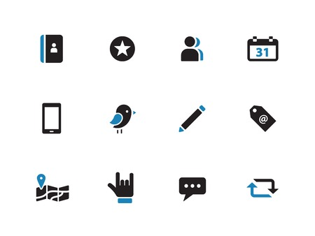 Social duotone icons on white background. Vector illustration. Vector