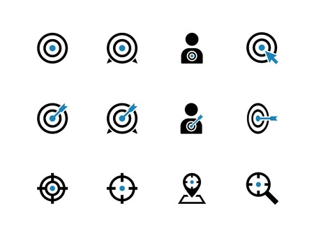 Target duotone icons on white background. Vector illustration.