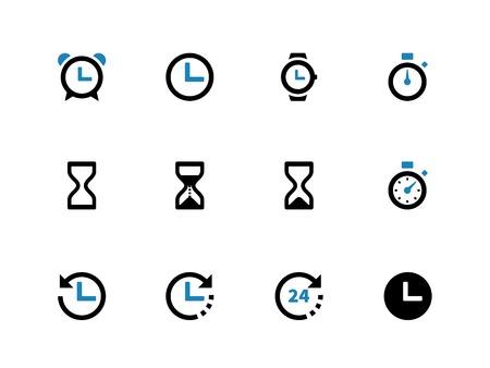 Time en Klok duotone pictogrammen op een witte achtergrond. Vector illustratie. Stock Illustratie