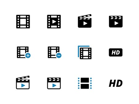 Video duotone icons on white background. Vector illustration. Illustration