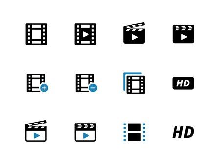 Video duotone icons on white background. Vector illustration. Illustration