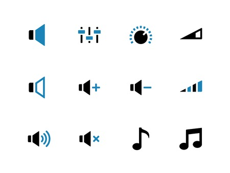 Speaker duotone icons on white background. Volume control. Vector illustration. Illusztráció