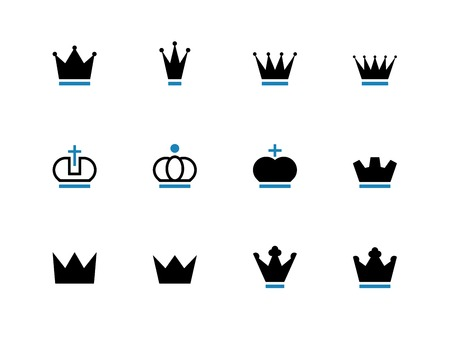 Crown duotone icons on white background. Vector illustration.