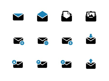 Email duotone icons on white background. Envelope signs for web and applications. Vector illustration.