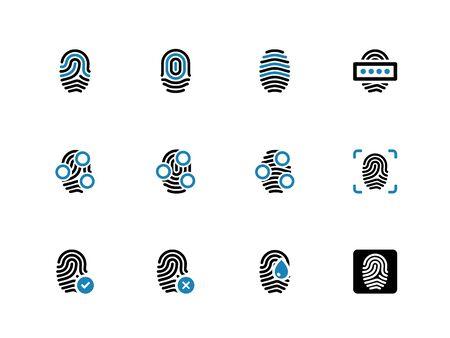 Fingerprint duotone icons on white background. Vector illustration. Vector