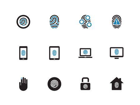 Fingerprint duotone icons on white background. Vector illustration.