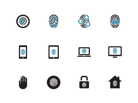 Fingerprint duotone icons on white background. Vector illustration. Vector