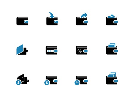 Wallet duotone icons on white background. Vector illustration.