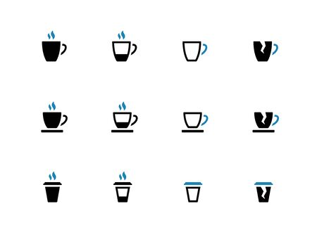 Tea mug and Coffee cup duotone icons. Vector illustration. Vector