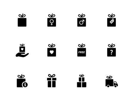 Present box icons on white background. Vector illustration. Vector