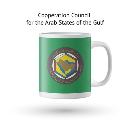 council: Cooperation Council for the Arab States of the Gulf flag souvenir mug isolated on white background.