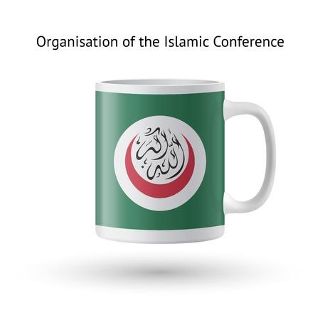 organisation: Organisation of Islamic Conference flag souvenir mug isolated on white background.