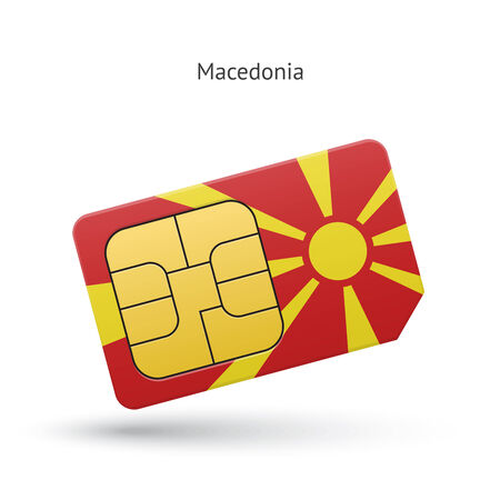 Macedonia mobile phone sim card with flag. Vector