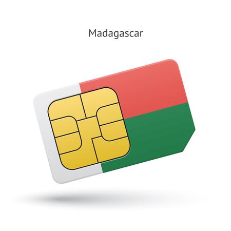 simcard: Madagascar mobile phone sim card with flag.