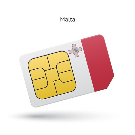simcard: Malta mobile phone sim card with flag.