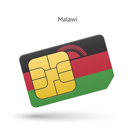 Malawi mobile phone sim card with flag.  Vector
