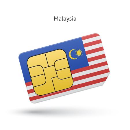 simcard: Malaysia mobile phone sim card with flag.