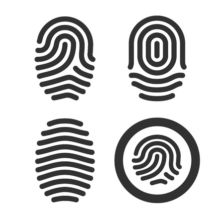 Vingerafdruk iconen set. Vector illustratie.