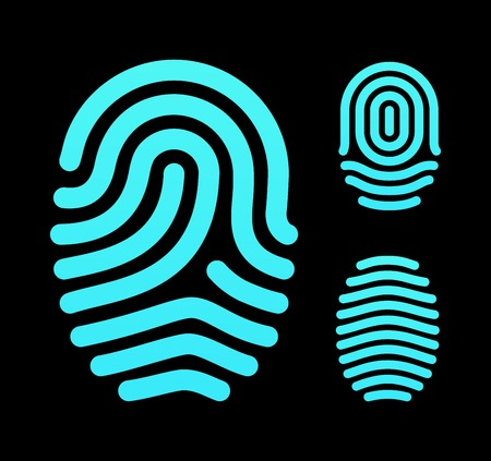 Fingerprint types, loop, whorl and arch. Vector illustration. Vector