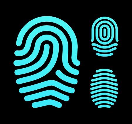 Fingerprint types, loop, whorl and arch. Vector illustration. Vector