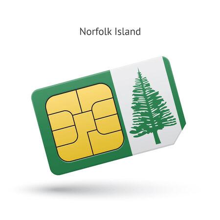 simcard: Norfolk Island mobile phone sim card with flag. Vector illustration.
