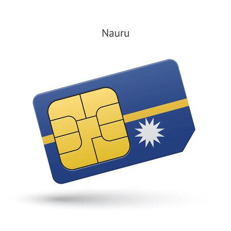 simcard: Nauru mobile phone sim card with flag. Vector illustration.
