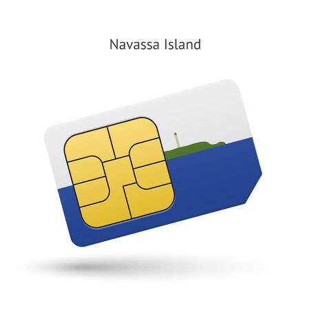 Navassa Island mobile phone sim card with flag. Vector illustration. Vector