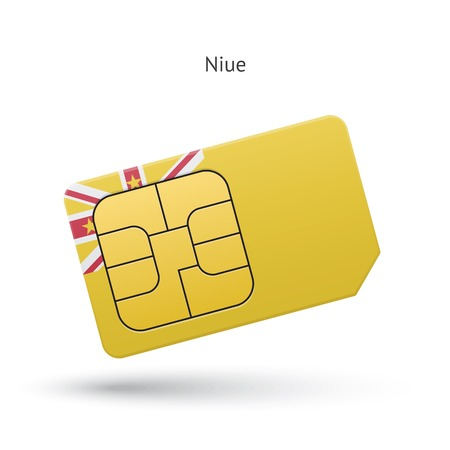 niue: Niue mobile phone sim card with flag. Vector illustration.