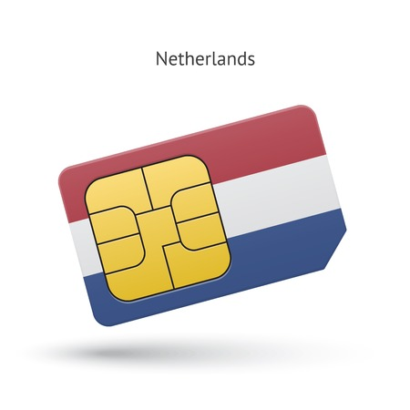 simcard: Netherlands mobile phone sim card with flag. Vector illustration.