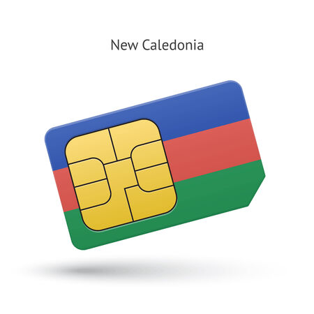New Caledonia mobile phone sim card with flag. Vector illustration. Vector