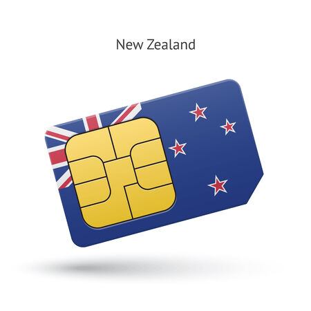 New Zealand mobile phone sim card with flag. Vector illustration. Vector
