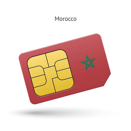 Morocco mobile phone sim card with flag. Vector illustration. Vector