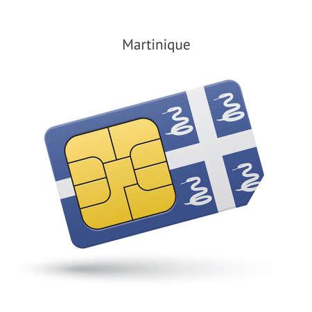martinique: Martinique mobile phone sim card with flag. Vector illustration.