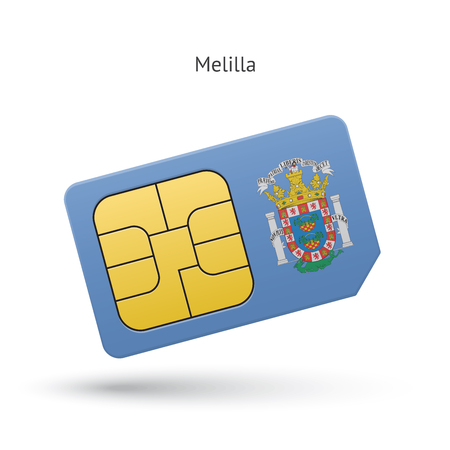 Melilla mobile phone sim card with flag. Vector illustration. Vector