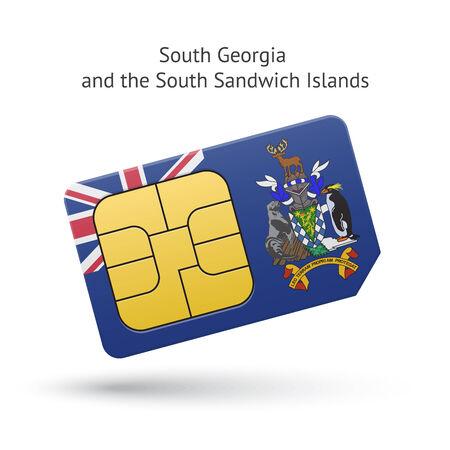simcard: South Georgia and Sandwich Islands phone sim card with flag. Vector illustration. Illustration