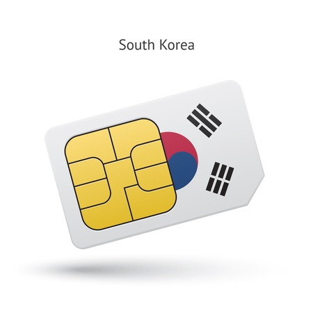 South Korea mobile phone sim card with flag. Vector illustration.