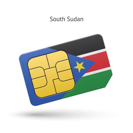 south sudan: South Sudan mobile phone sim card with flag. Vector illustration. Illustration