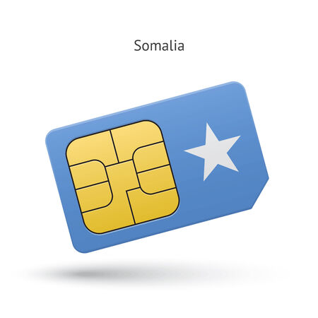 Somalia mobile phone sim card with flag. Vector illustration. Vector