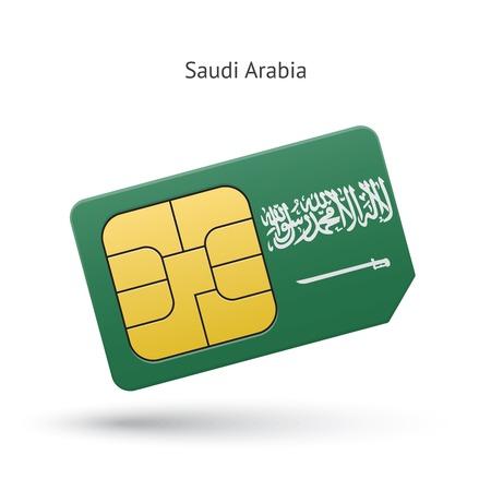 simcard: Saudi Arabia mobile phone sim card with flag. Vector illustration. Illustration
