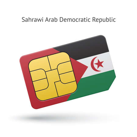 Sahrawi Arab Democratic Republic phone sim card with flag. Vector illustration. Vector