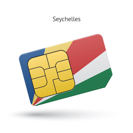 Seychelles mobile phone sim card with flag. Vector illustration. Vector