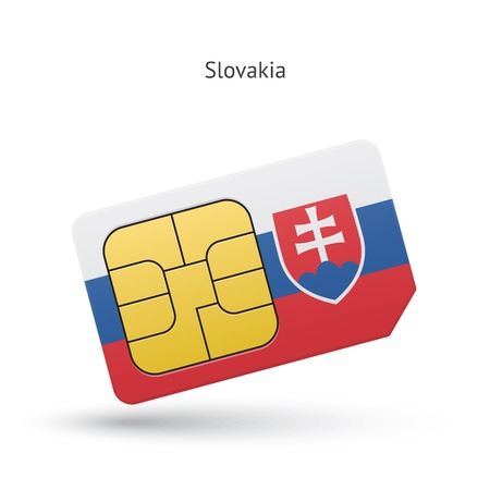 Slovakia mobile phone sim card with flag. Vector illustration. Vector