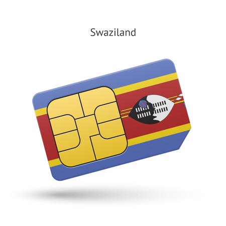 Swaziland mobile phone sim card with flag. Vector illustration. Vector