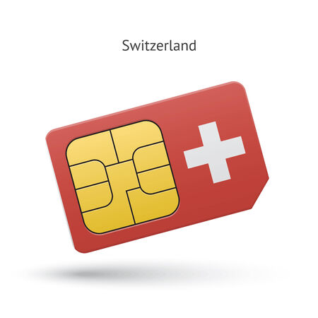 Switzerland mobile phone sim card with flag. Vector illustration.