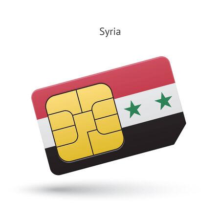simcard: Syria mobile phone sim card with flag. Vector illustration.