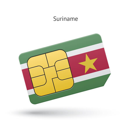 Suriname mobile phone sim card with flag. Vector illustration. Vector