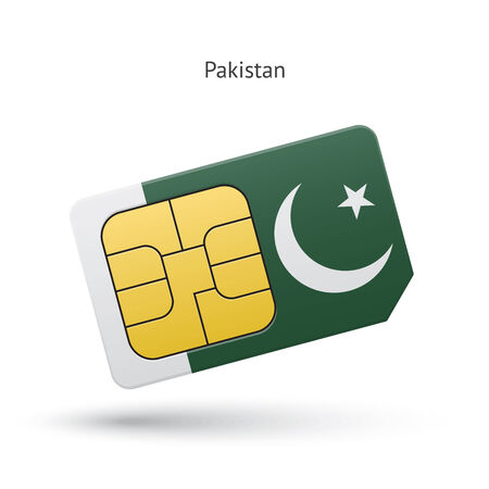 simcard: Pakistan mobile phone sim card with flag. Vector illustration.