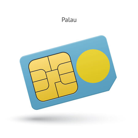 Palau mobile phone sim card with flag. Vector illustration. Vector